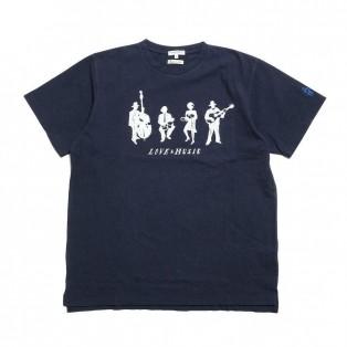 Engineered Garments - ◇◆SUN HOUSE別注◆◇ Printed Cross Crew Neck T-shirt - Musicians - Navy