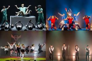 東京公演 左上から時計回りにタイムマシーン、梅棒、シッキン、東京ゲゲゲイ © Tadamasa Iguchi / DDA