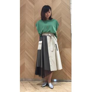 カラーtop☆チュール切替スカート