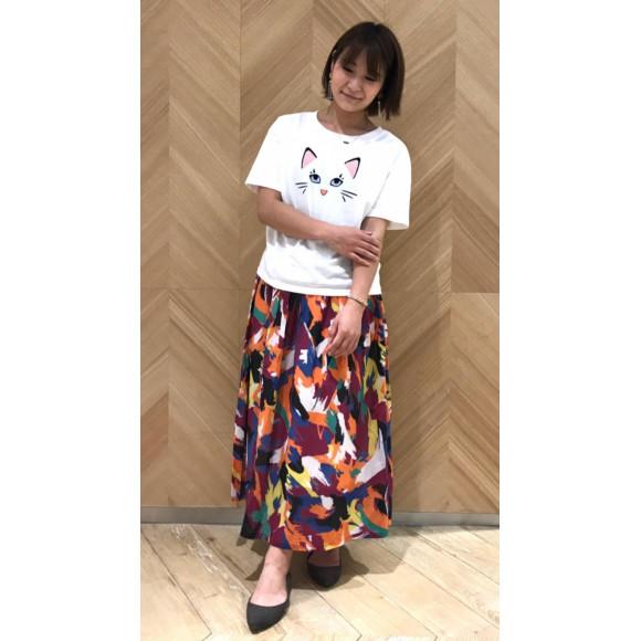 ☆CAT刺繍Tシャツ&アフリカンプリントスカート☆