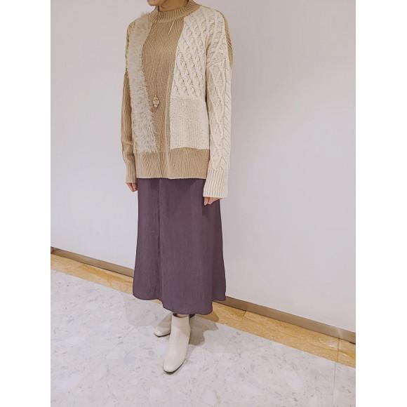 シャギーニット&トリアセテートスカート