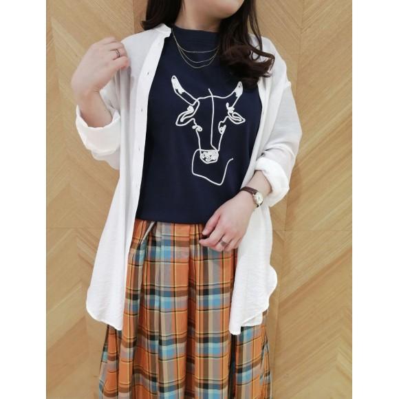 USHIロープ刺繍T&マドラスチェックスカート
