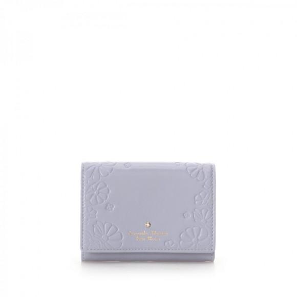 フラワー型押し口金折財布
