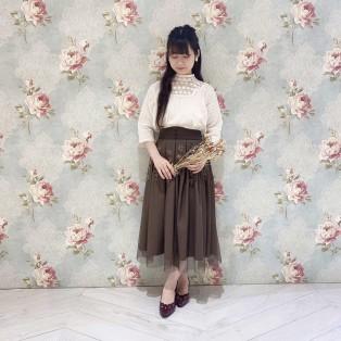 秋の新作入荷♡アンティークローズ刺繍チュールスカート