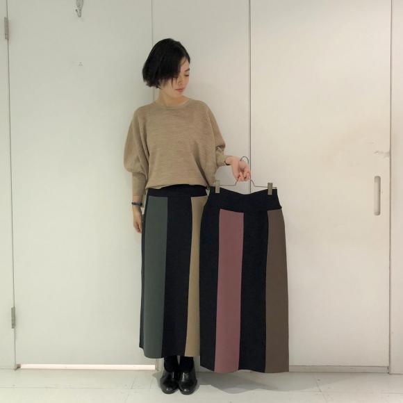 バイカラーストライプニットタイトスカート
