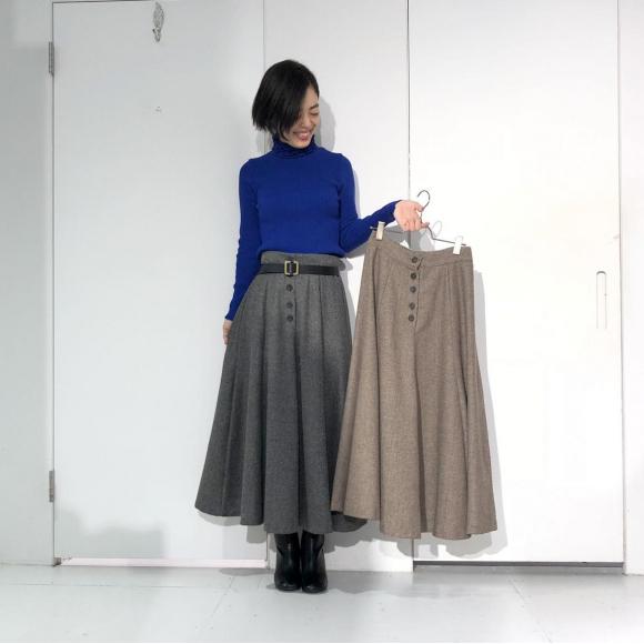 ヘリンボーンロングフレアスカート