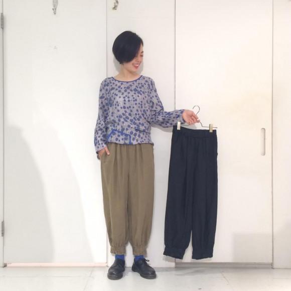 裾ギャザーリネンパンツ