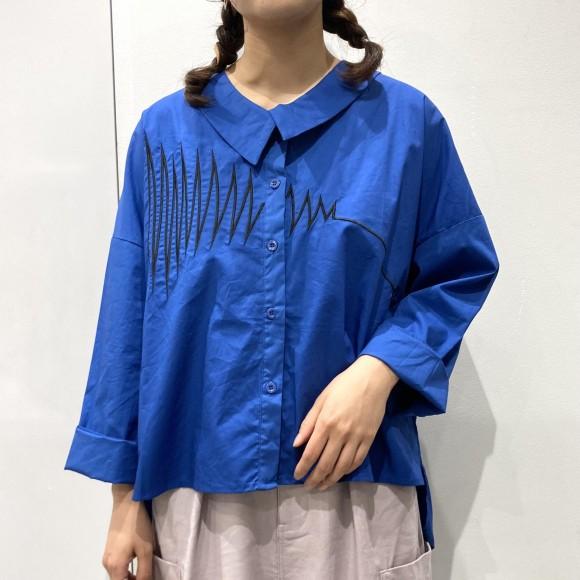 ギザギザ刺繍 コットンポリワイドシャツ【10%off対象】