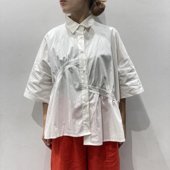 アシメラインギャザーコットンシャツ