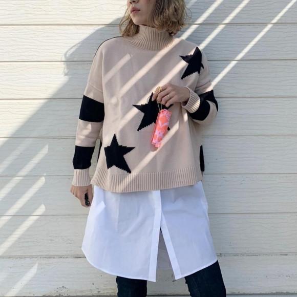 スタンドカラーshirt