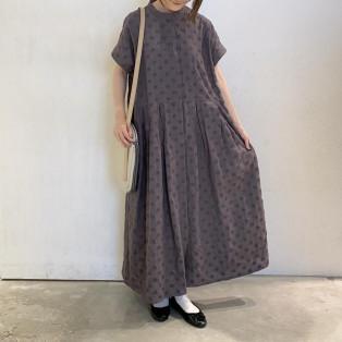 【2階 nop de nod】リネンPolka刺繍フレンチスリーブワンピース