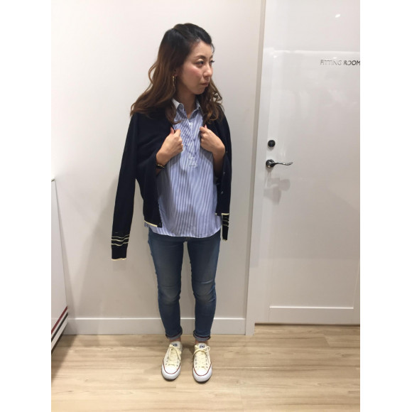 【WOMENS】ストライププリーツシャツ