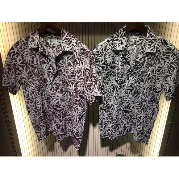 ボタニカルプリント ワンナップカラーシャツ