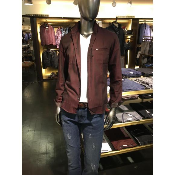 [新作紹介] シャンブレーヘリンボン ショートスタンドカラーシャツ