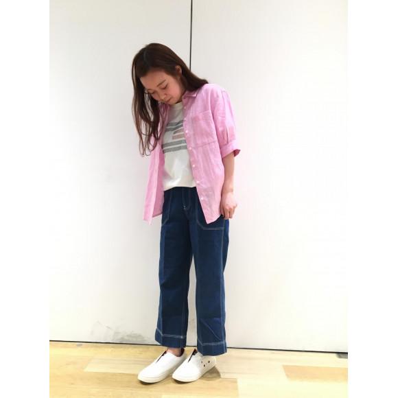 【WOMENS】リネンショートスリーブシャツ