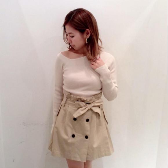 ワンショルリブトップ♡トレンチミニスカート♡DURAS