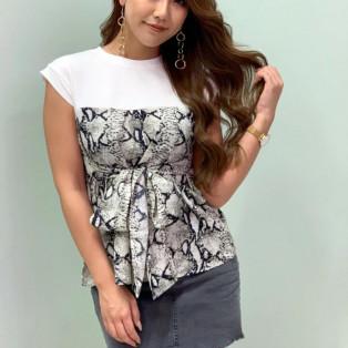 ウエストリボンプリントドッキングTシャツ♡DURAS