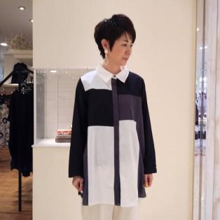 ブラック×グレー×ホワイト配色切替コットンシャツ