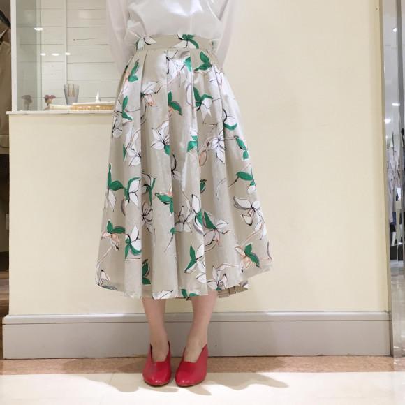 花柄 コットンフレアスカート