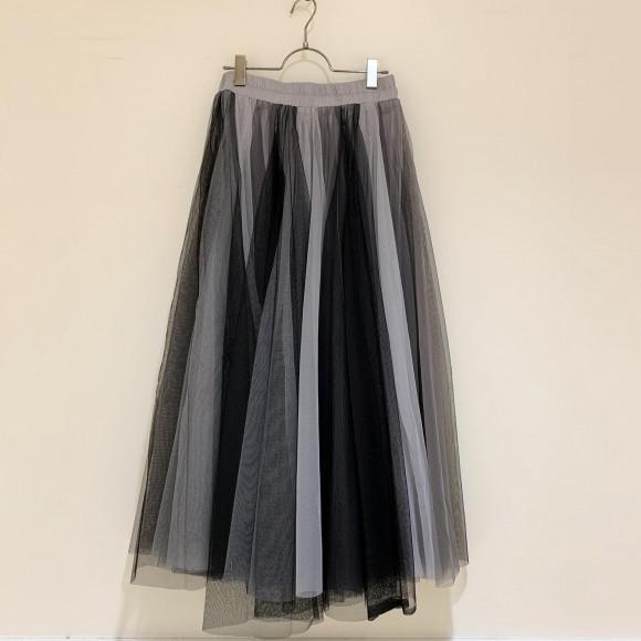 ブラック×グレー切替チュールスカート