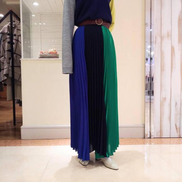 ブラック×ブルー×グリーン配色プリーツスカート