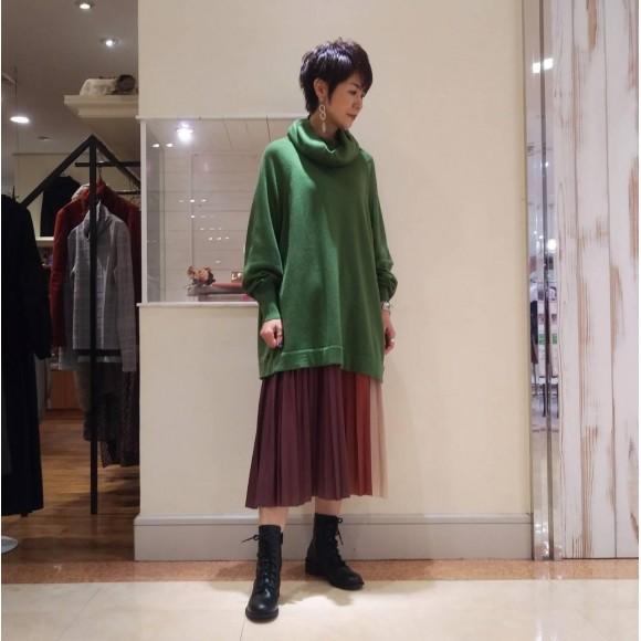 3配色プリーツスカート