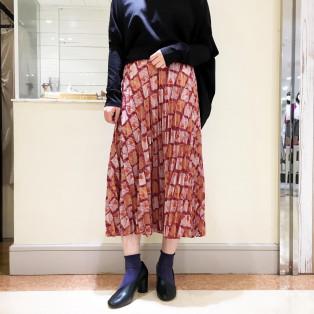 △シャドウ柄プリーツフレアSK
