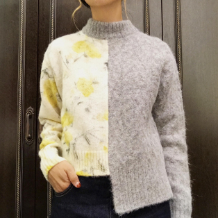 FURFUR/flower cable half sweater