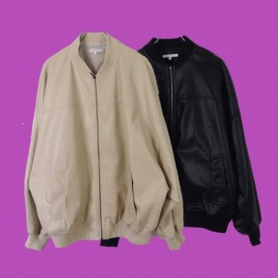 Synthetic leather blouson