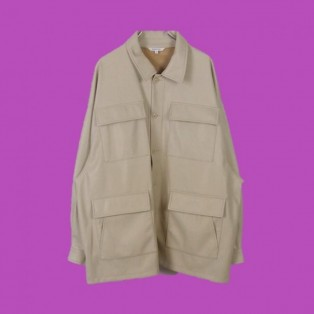 Synthetic leather fatigue jacket