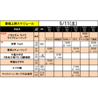 《上映スケジュール》2019/5/11(土)~2019/5/17(金)