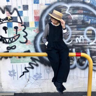 昔ながらのシンプルデザイン☆ 太リボンのカンカン帽