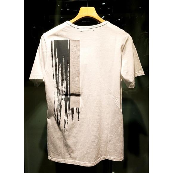 バックストライプクラッシュフロッキーTシャツ