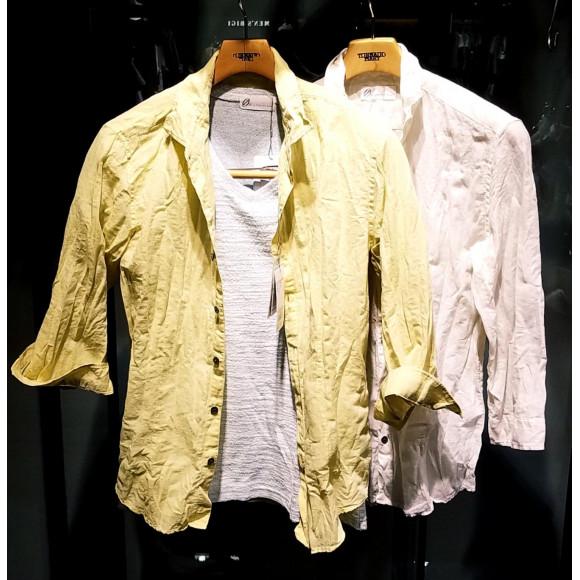 綿麻ボイルシャンブレー7分袖シャツ