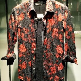 フラワープリント7分袖シャツ