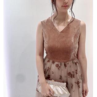 シルクベルベット×チュールスカート