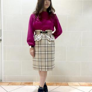 フェレットオフタートル×ラメチェックペプラムスカート