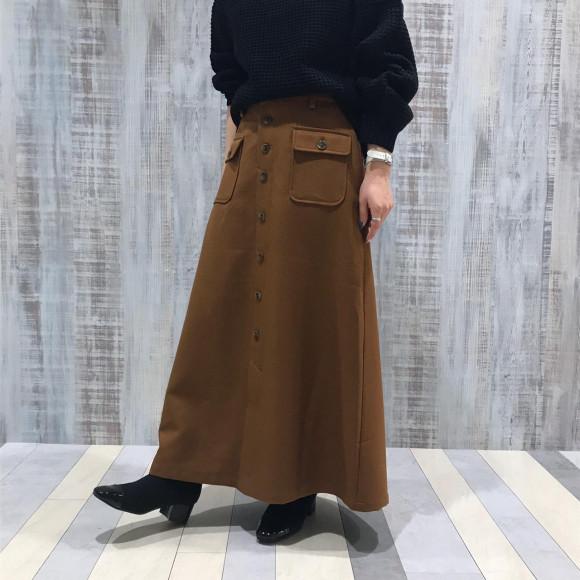 Wポケットフレアスカート