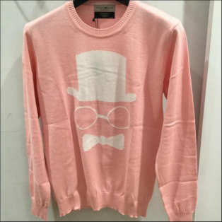 TOUCH BACK×PAZZO Wネームクルーネックニット ピンク