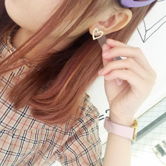 new♡ミニハートフレームピアス