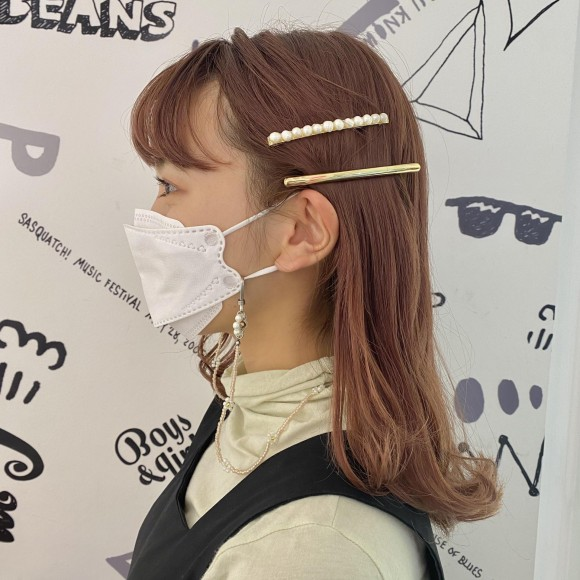 new♡LGメタルバレッタ&タンスイパールLGピン