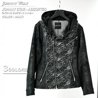 冬のグランドバザール2021 JOHNNY WOLF(ジョニーウルフ)JOHNNY STAR-ASSORTED(ジョニースター アソーテッド)ライダース ビッグフード パーカーです。