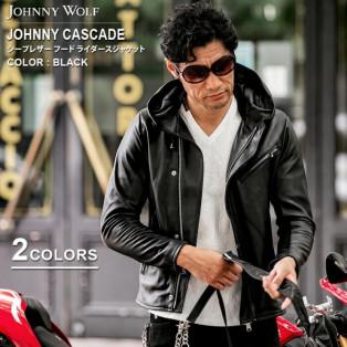 JOHNNY WOLF(ジョニーウルフ)JOHNNY CASCADE-HVY SHEEP(ジョニーカスケード ヘヴィーシープ)シープレザー フード ライダース ジャケットです。