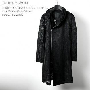 JOHNNY WOLF(ジョニーウルフ)JOHNNY STAR LONG-FLOWER(ジョニースターロング-フラワー)レース フードライダース ロング カーディガンです。