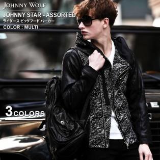 JOHNNY WOLF(ジョニーウルフ)JOHNNY STAR-ASSORTED(ジョニースター アソーテッド)ライダース ビッグフード パーカーです。