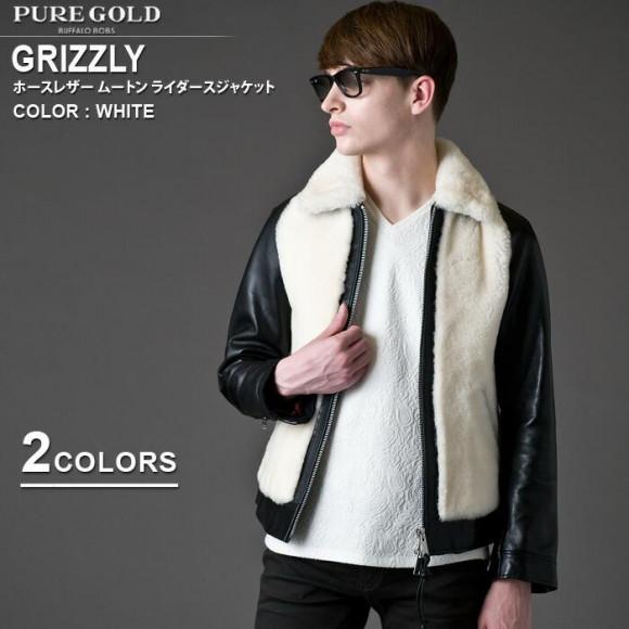 BUFFALO BOBS(バッファローボブズ)GRIZZLY(グリズリー)ホースレザー ムートン シングル ライダース ジャケットです。