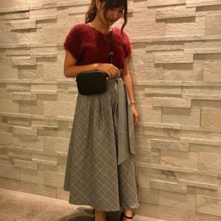 2WAYシャギー半袖ニット×パッチチェックフレアスカート