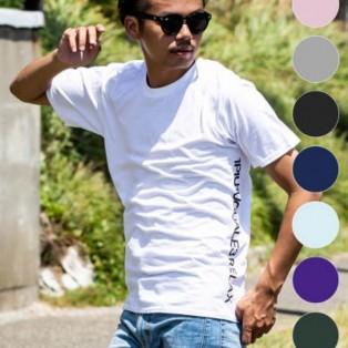 1PIU1UGUALE3 RELAX(ウノピゥウノウグァーレトレ) サイドロゴプリントTシャツ(ホワイト/ピンク/チャコール/ブラック/ロイヤルブルー/ライトブルー/パープル/ダークグリーン/ネイビー)