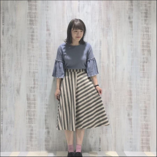 先染めストライプフレアースカート