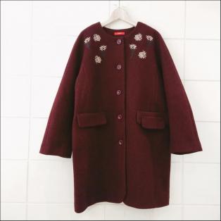 マチ付きドルマン刺繍コート